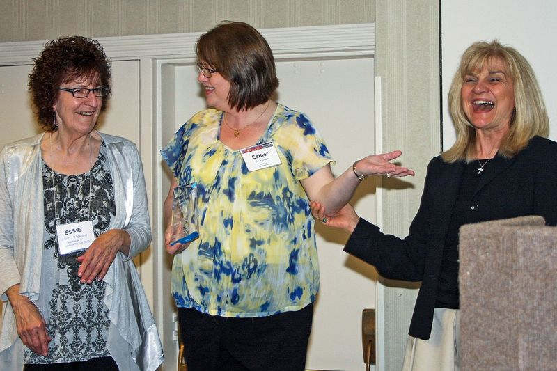 Essie and Esther Accept E-Learning Award cropped- small